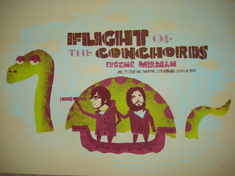 Flight of The Conchords tour poster for Detriot 2009