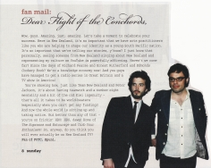 Flight of The Conchords - Fan Mail scan from Sunday Star Times July 2007