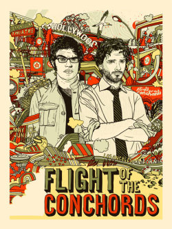 Flight of The Conchords tour poster 2008 - By Tyler Stout